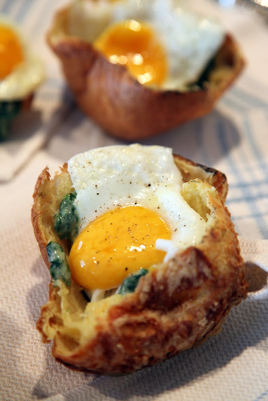 popovers were cut in half and filled with creamed spinach and a fried ...